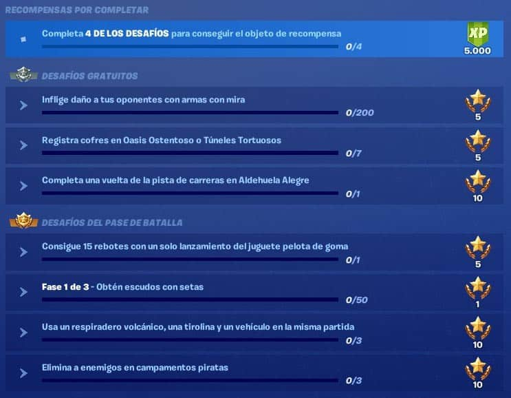 Desafíos-Semana-5 temporada 8 fortnite