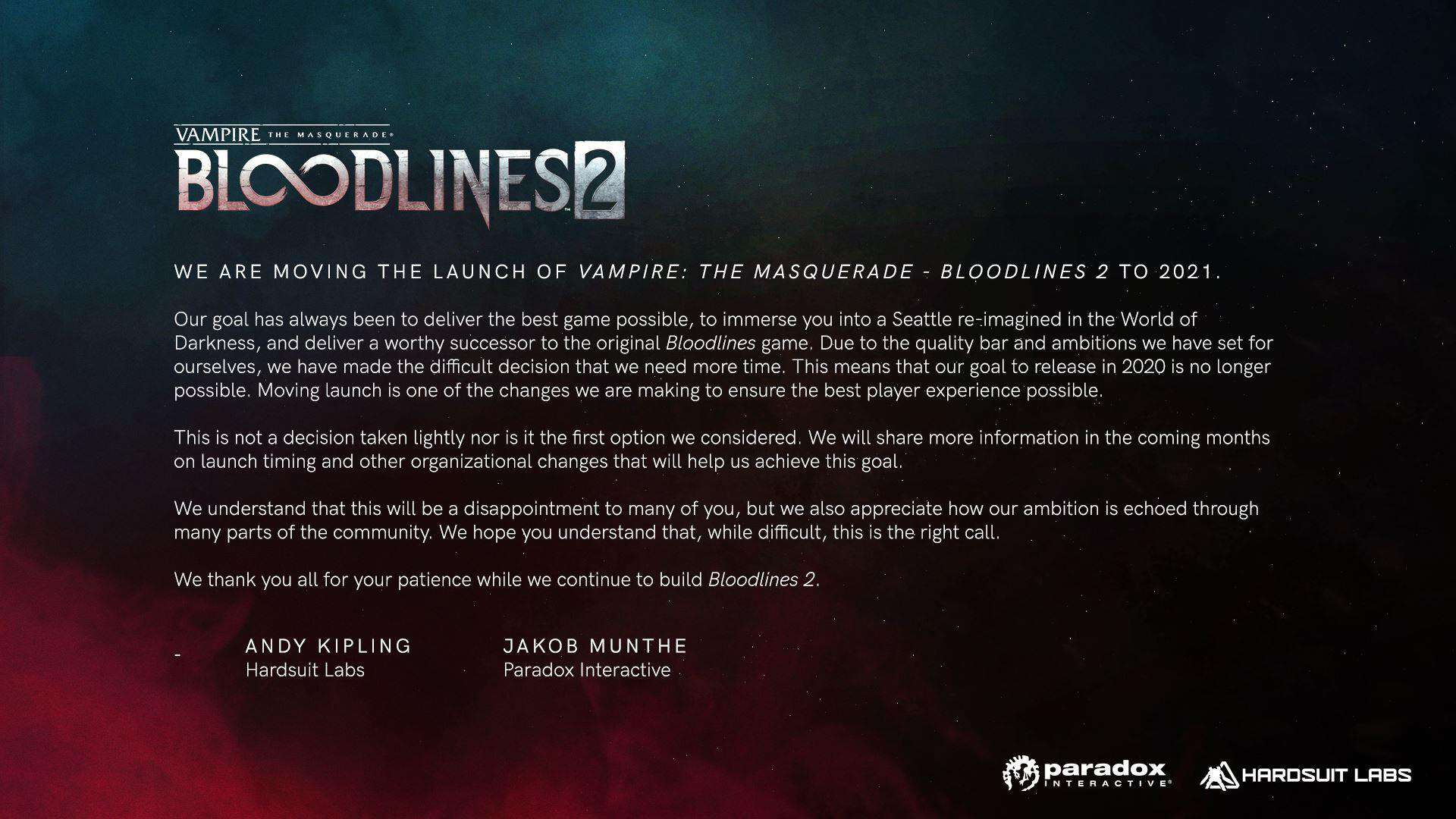 Vampire: The Masquerade - Bloodlines 2 Retraso